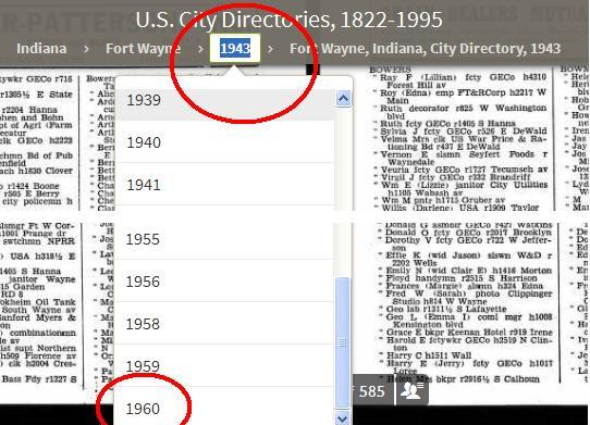 1960 year city dir list