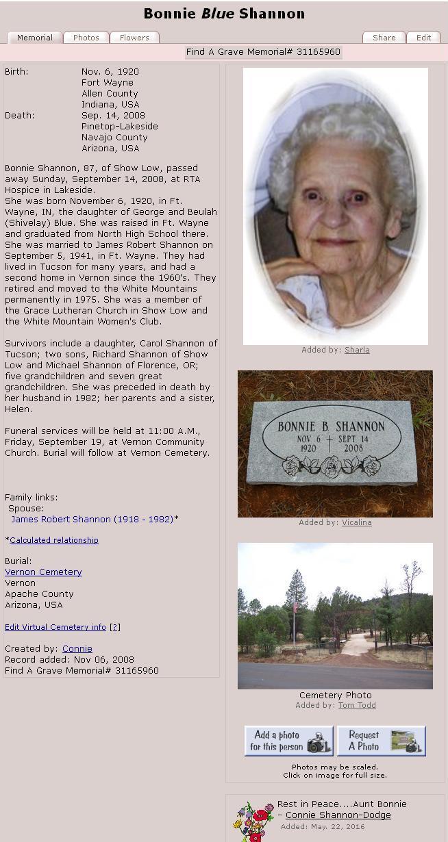 Bonnie Blue Shannon 1920-2008 - Arz