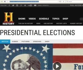 History Channel web page photo