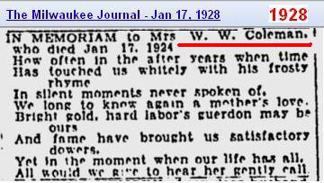 Slide 2 - Mrs W W Coleman In Memoriam - Jan 1928