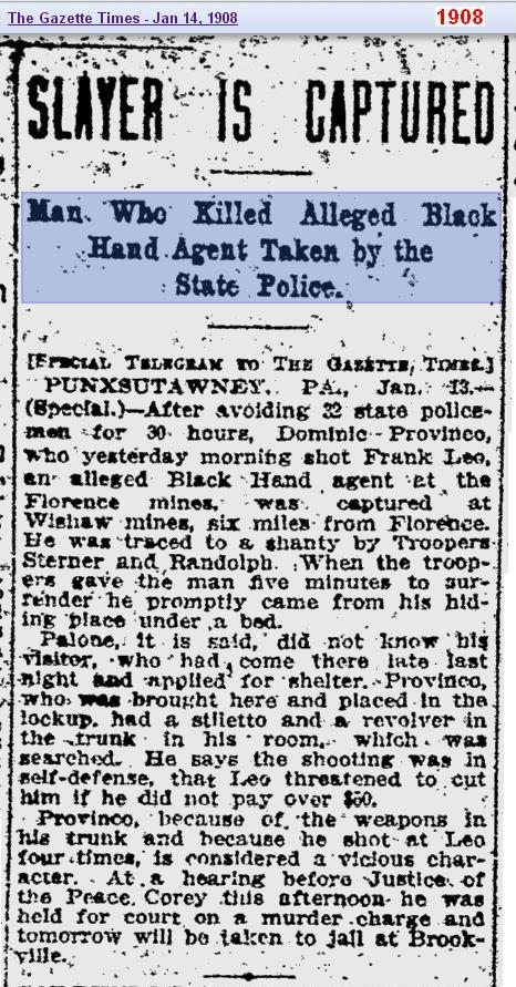 Black Hand news 1908 - Penn