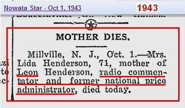 Copy of Obit - Lida Henderson age 71 - NJ