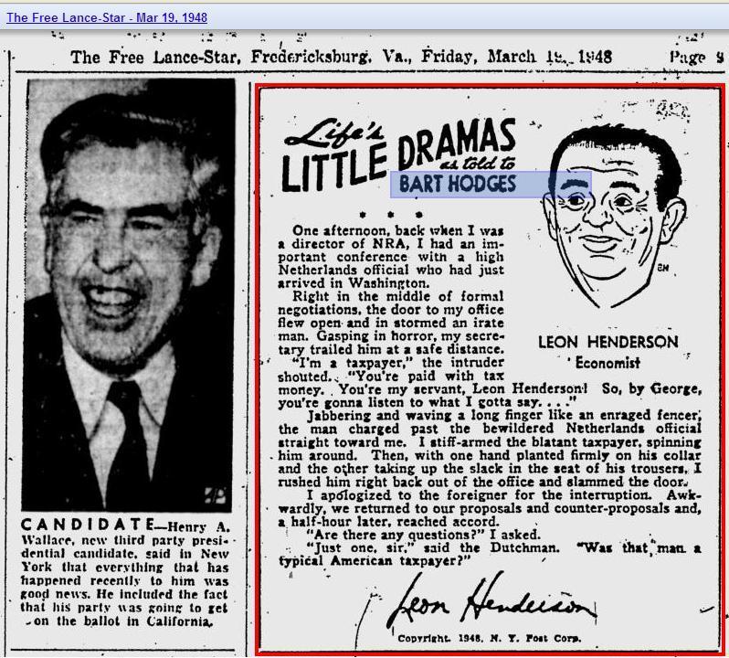 Leon Henderson Economist in news 1948
