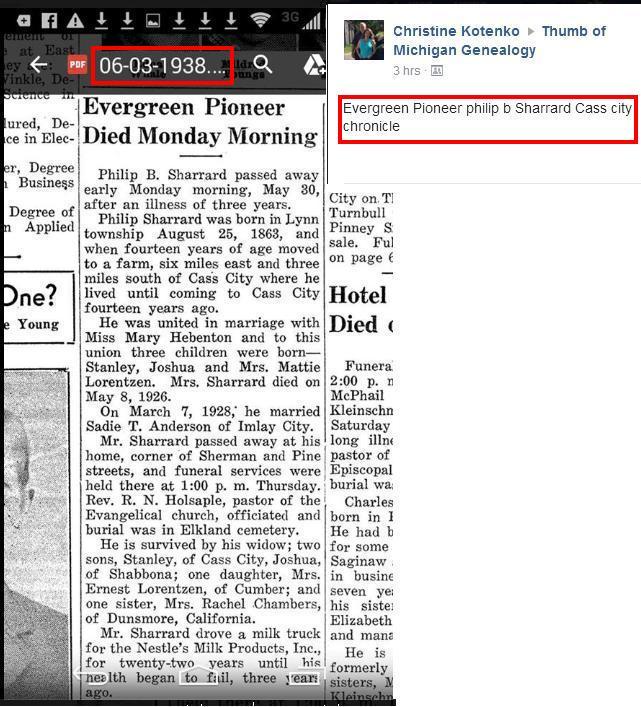 Philip B Sharrard - Cass City Chronicle 03Jun1938 - Mich. FB