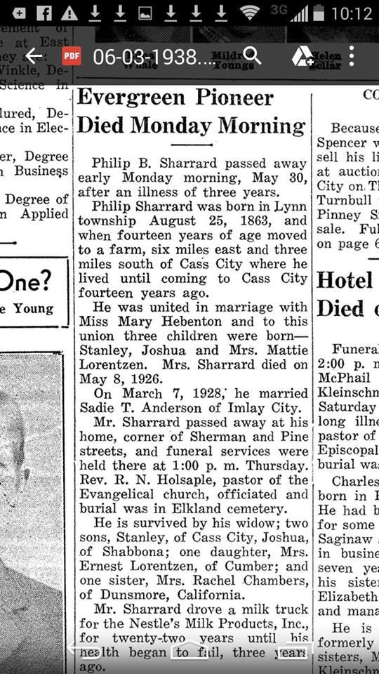 Philip B Sharrard - Cass City Chronicle 03Jun1938 - Mich