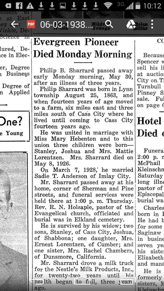 Philip B Sharrard - Cass City Chronicle 03Jun1938 - Mich