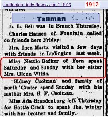 Mrs Glenn Willis visited by sister Nettie Bedker 1913