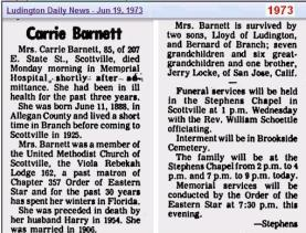 Obit - Carrie Barnett 19 Jun 1973