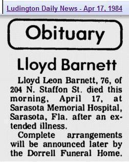 Obit - Lloyd Barnett Apr 1984