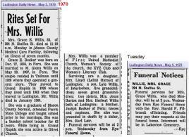 Obit - Mrs. Grace Willis 04 May 1970