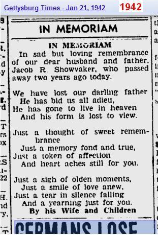 1942 - memoriam of Jacob R Showvaker - Penn