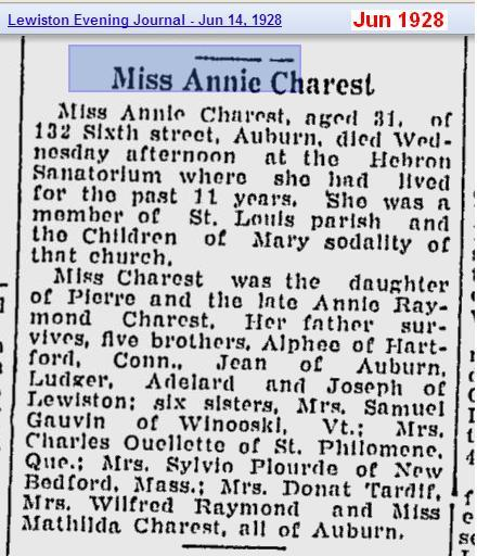 obit - Annie Charest age 31 obit Jun 1928 - Maine