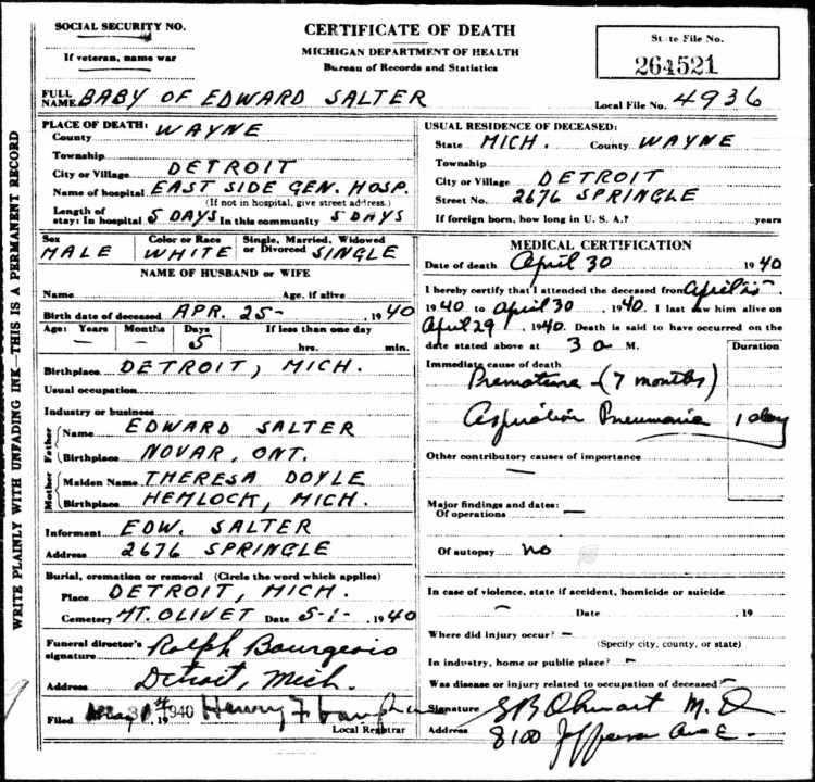 Copy of Baby Salter age 5 days - son of Edward and Theresa 30 Apr 1940