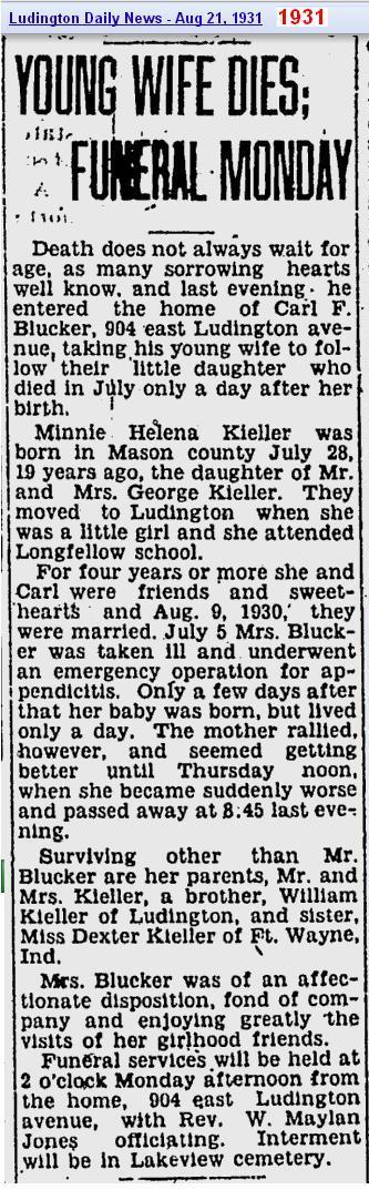 01 - obit - Minni Helena Kieler - Aug 1931 - Mich
