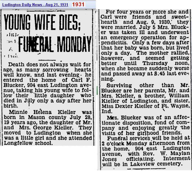 01a - Copy of obit - Minni Helena Kieler - Aug 1931 - Mich
