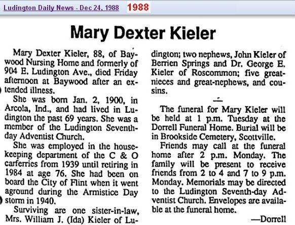 02 - obit - Mary Dexter Kieler Dec 1988 - Mich