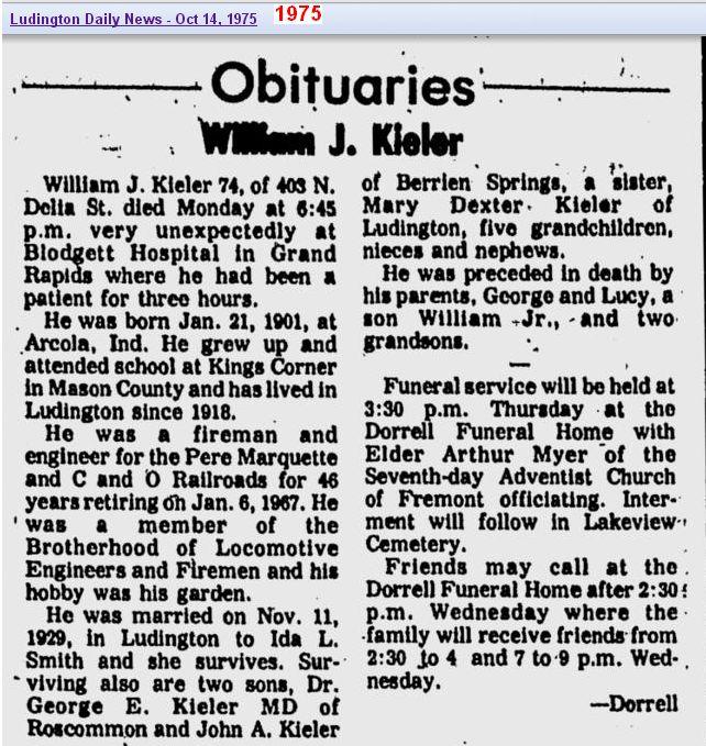 03 - obit - William J Kieler - Oct 1975 - Mich