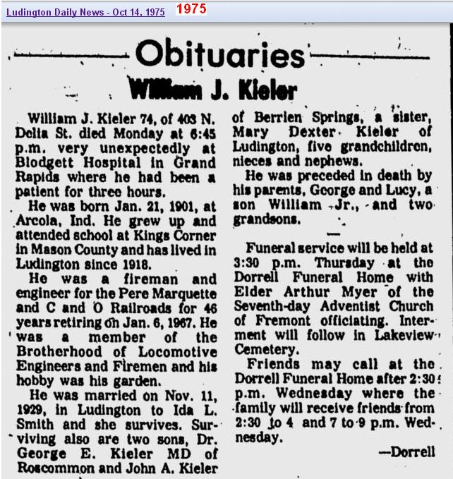 03 - obit - William J Kieler - Oct 1975 - Mich