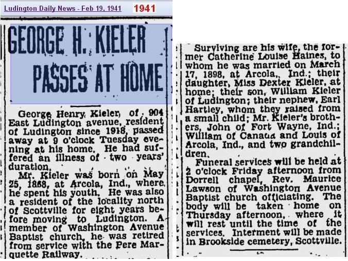 04a - Copy of obit - George Henry Kieler - Feb 1941 - Mich