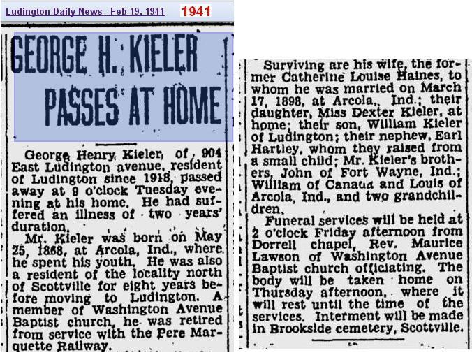 04a - Copy of obit - George Henry Kieler - Feb 1941 - Mich