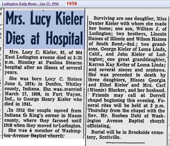 05a - Copy of obit - Lucy Haines Kieler - Jan 1956 - Mich