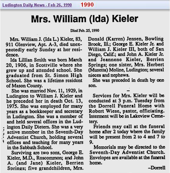 06 - obit - Ida Smith Kieler - Feb 1990 - Mich