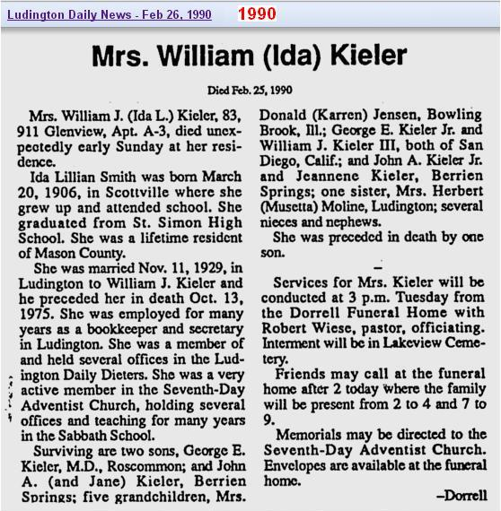 06 - obit - Ida Smith Kieler - Feb 1990 - Mich