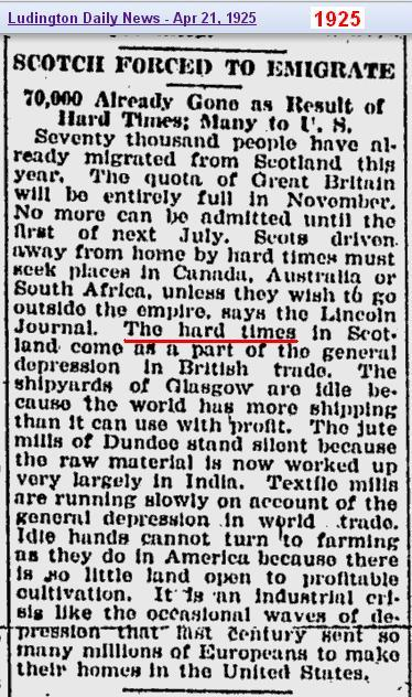 1925 - migration from Scotland
