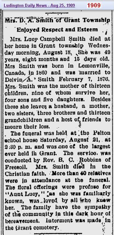 0 - obit - Ludy Campbell Smith - 25 Aug 1909 - Mich