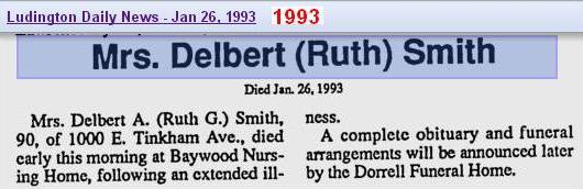 death - Ruth Gertrude Cameron Smith - Jan 1993 - Mich