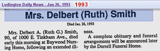 death - Ruth Gertrude Cameron Smith - Jan 1993 - Mich