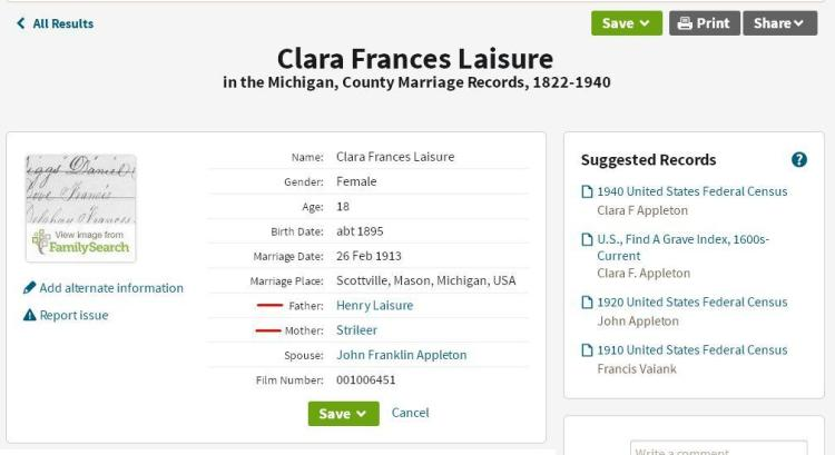 marriage - Clara Frances Laisure 2 Appleton