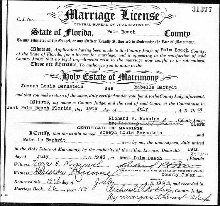 marriage - Mabelle to Joseph on 19 Jul 1943