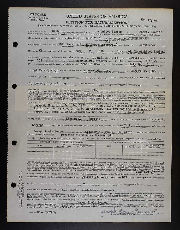 naturalization petition for Joseph L Benson Oct 1923