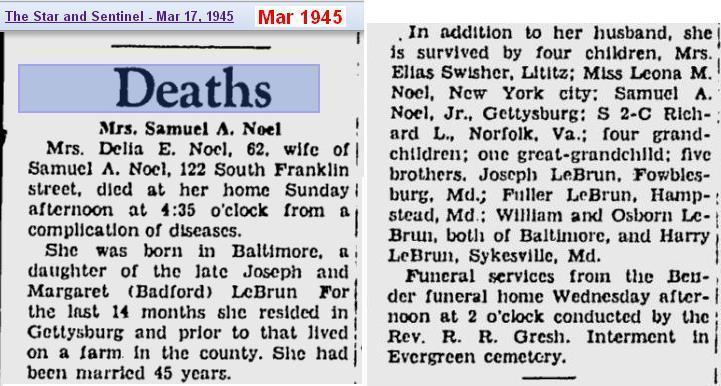 obit - Delia E LeBrun Noel - Mar 1945 - Penn 2
