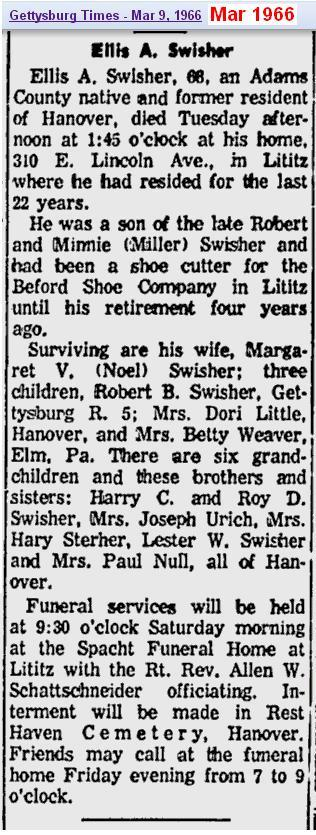 obit - Ellis A Swisher - Mar 1966 - Adams Penn
