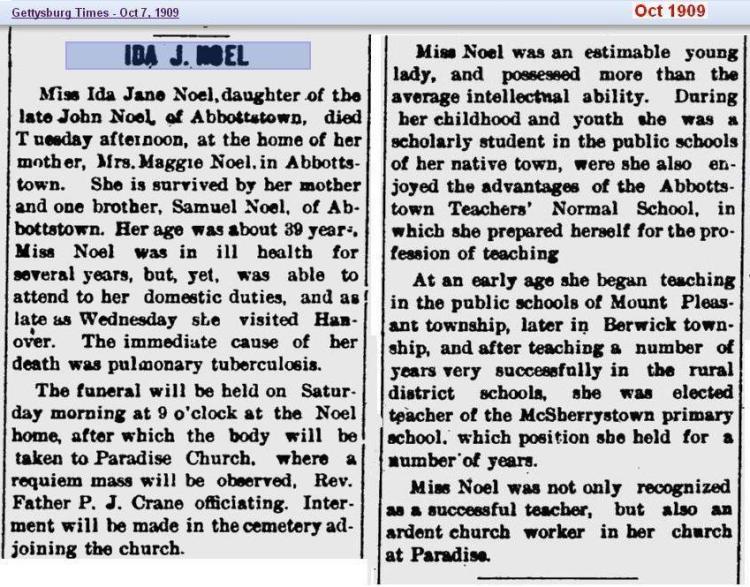 obit - Ida Jane Noel - Oct 1909 - Penn 02