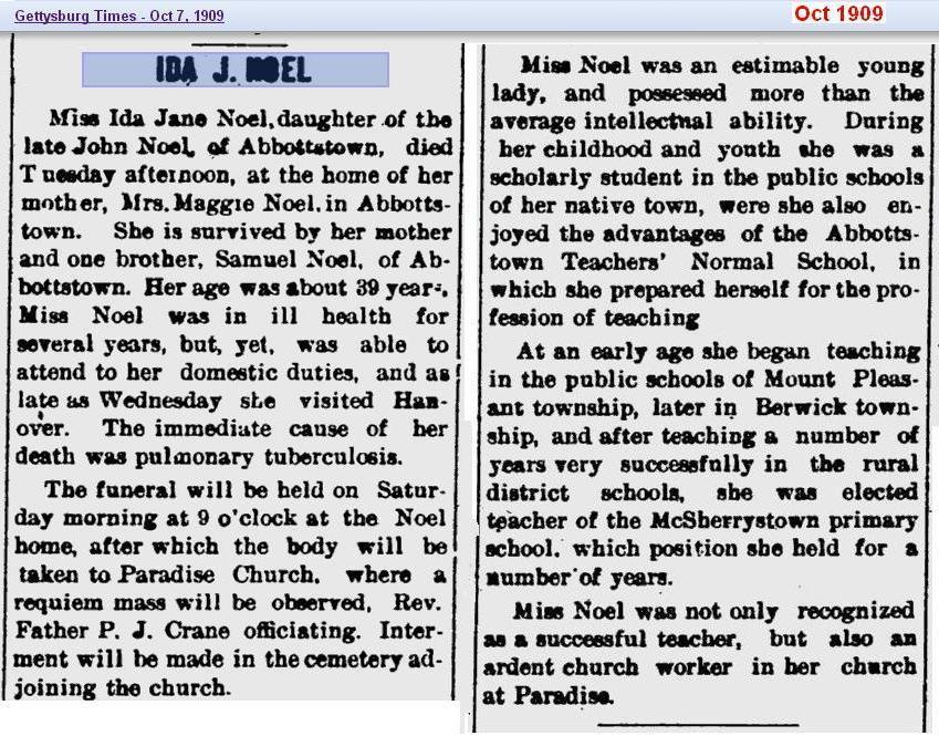 obit - Ida Jane Noel - Oct 1909 - Penn 02