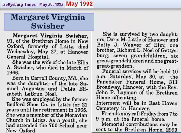 obit - Margaret Virginia Swisher - May 1992 - Penn 2