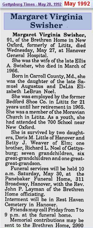 obit - Margaret Virginia Swisher - May 1992 - Penn