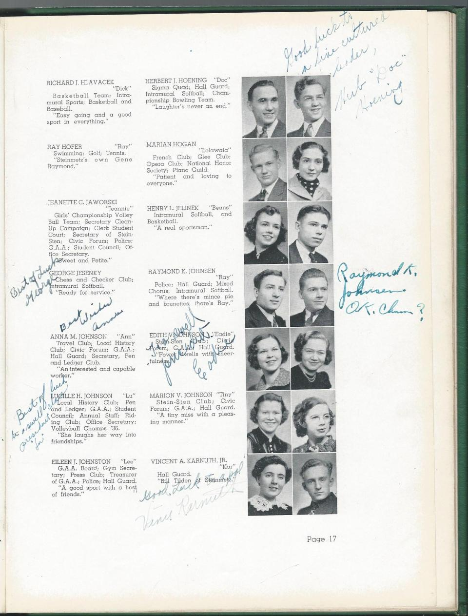 1938 HS Yearbook pg 17