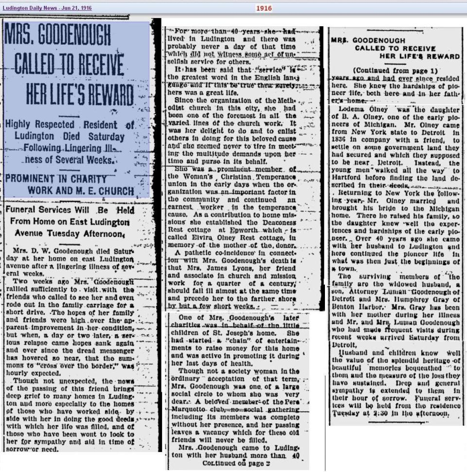 obit 2 - Mrs Goodenough - Jun 1916 - Mich