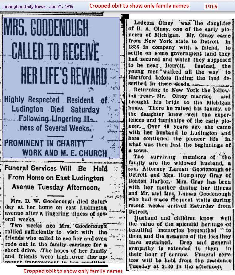obit 3 - Mrs Goodenough - Jun 1916 - Mich