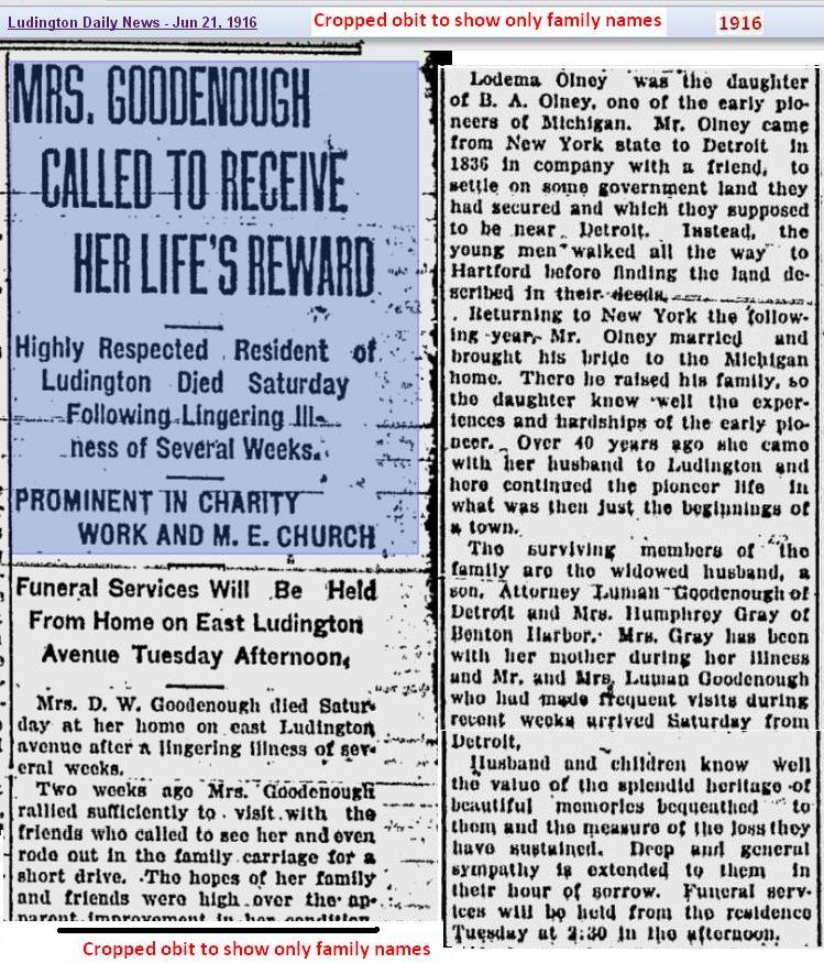 obit 3 - Mrs Goodenough - Jun 1916 - Mich