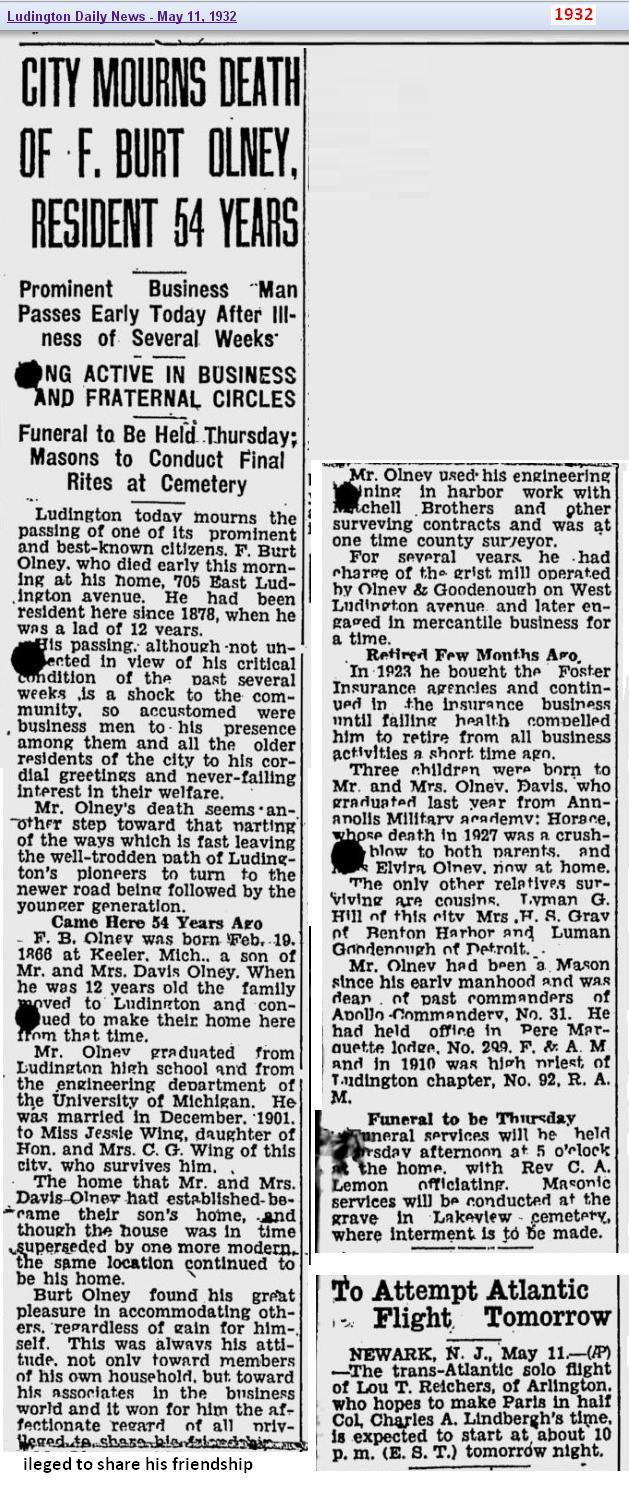 obit - F Burt Olney - May 1932 - Michigan full