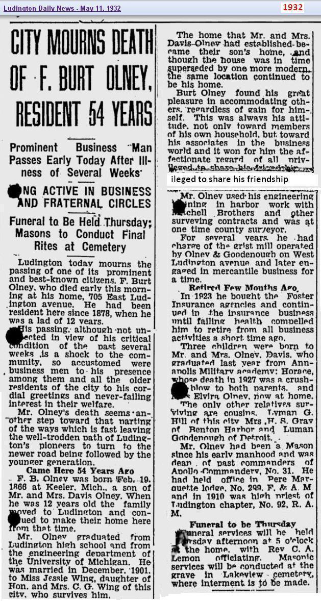obit - F Burt Olney - May 1932 - Michigan