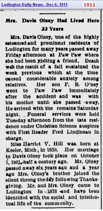 obit - Harriet V Hill - Dec 1911 - Mich