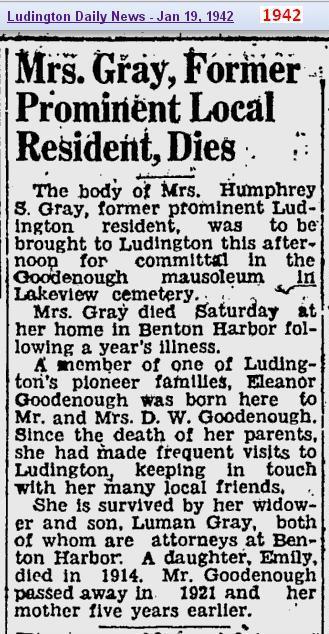 obit - Mrs Goodenough Gray - Jan 1942 - Mich