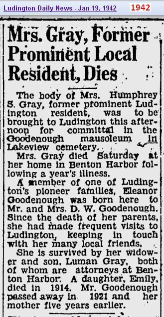 obit - Mrs Goodenough Gray - Jan 1942 - Mich