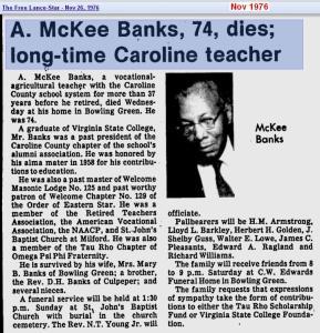 obit - A McKee Banks - Nov 1976 - Virginia